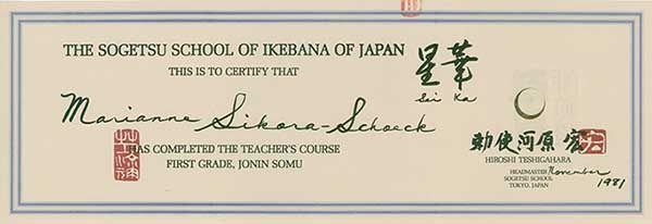 Zertifikat/Lehrerlaubnis der Sogetsu-Schule Tokio für Marianne Sikora