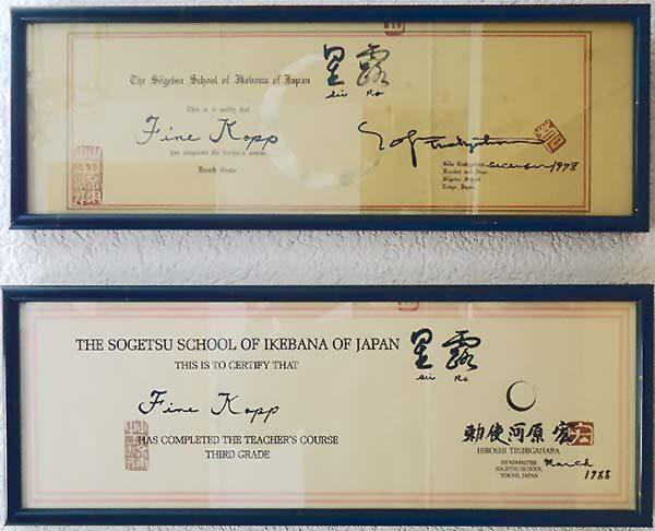 Zertifikat/Lehrbestätigung der Sogetsu-Schule Tokio für Fine Kopp